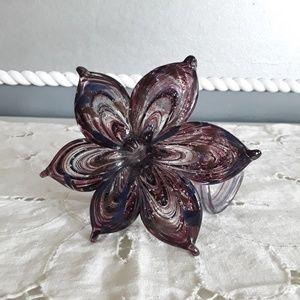 Decor Purple blown glass flower floral figurine